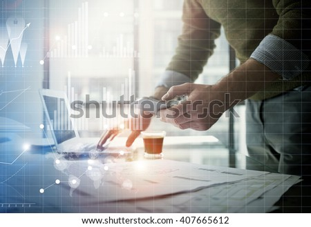 Business concept picture.Businessman working new startup project modern office.Holding contemporary smartphone hands. Worldwide connection technology,stock exchanges graphics interface. Horizontal - stock photo