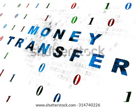 Business concept: Pixelated blue text Money Transfer on Digital wall background with Binary Code