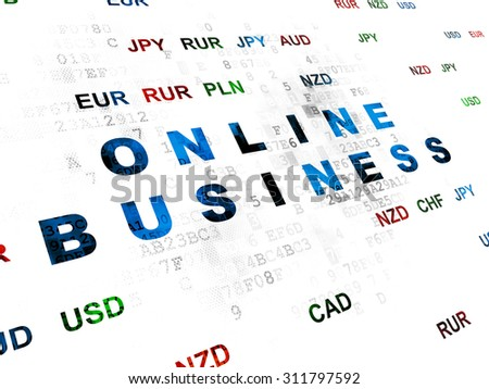 Business concept: Pixelated blue text Online Business on Digital wall background with Currency - stock photo