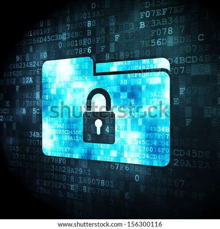 Business concept: pixelated Folder With Lock icon on digital background, 3d render - stock photo