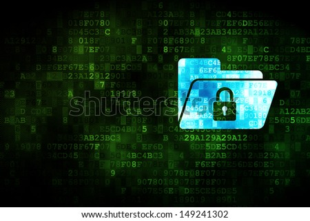 Business concept: pixelated Folder With Lock icon on digital background, empty copyspace for card, text, advertising, 3d render