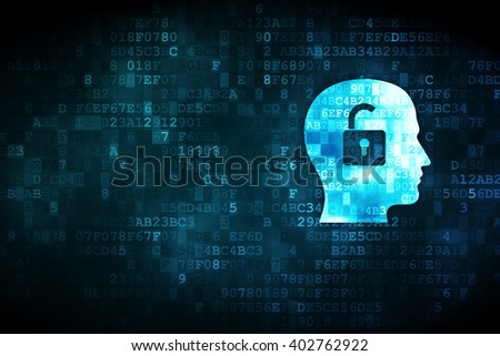 Business concept: pixelated Head With Padlock icon on digital background, empty copyspace for card, text, advertising
