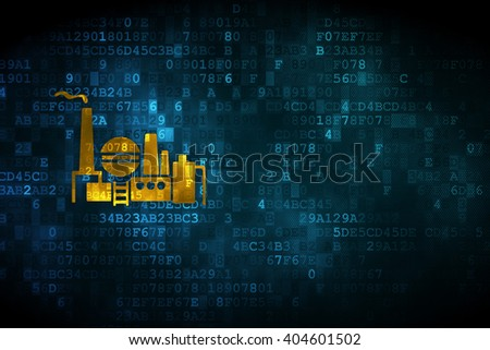 Business concept: pixelated Oil And Gas Indusry icon on digital background, empty copyspace for card, text, advertising - stock photo