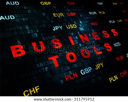 Business concept: Pixelated red text Business Tools on Digital wall background with Currency - stock photo
