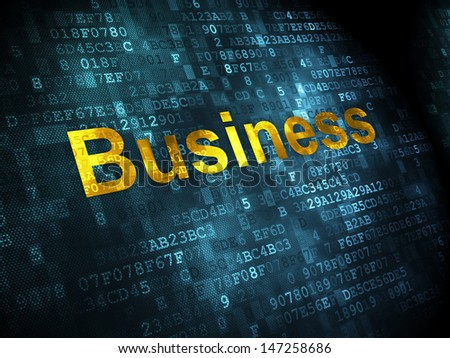 Business concept: pixelated words Business on digital background, 3d render