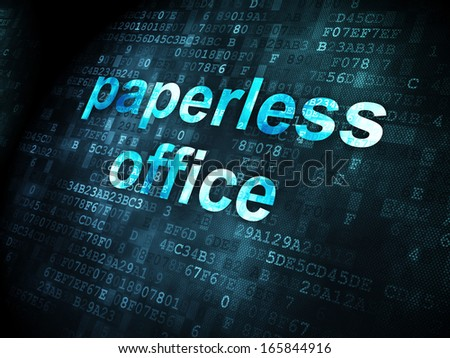 Business concept: pixelated words Paperless Office on digital background, 3d render - stock photo