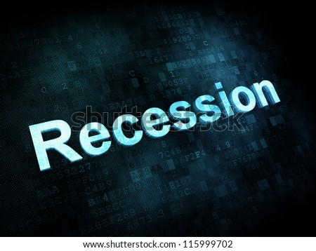 Business concept: pixelated words Recession on digital screen, 3d render