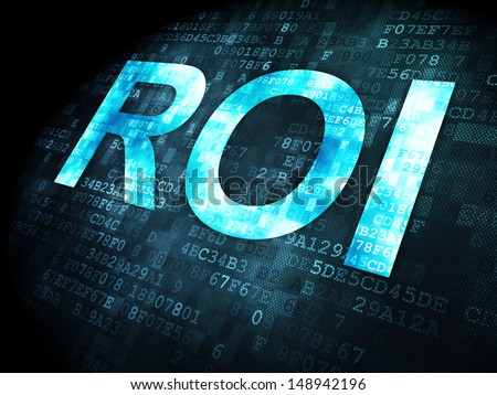 Business concept: pixelated words ROI on digital background, 3d render - stock photo