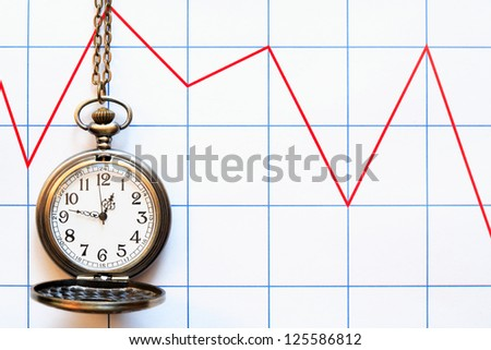 Business concept. Pocket watch on paper background with red chart - stock photo