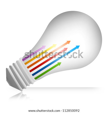 Business Concept Present By Colorful Moving Up Arrow Inside The Light Bulb Isolated on White Background - stock photo