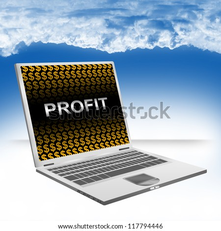 Business Concept Present by Computer Laptop With Silver Profit Text and Orange Dollar Sign Wallpaper Against The Blue Sky Background - stock photo