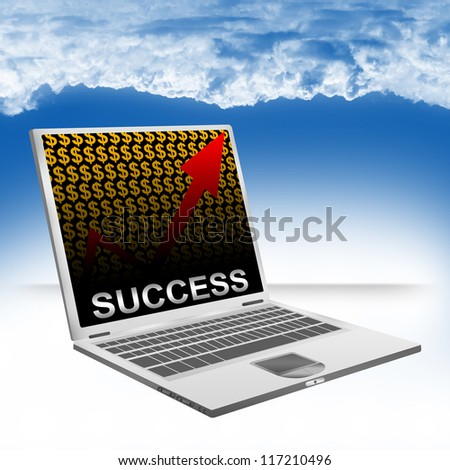 Business Concept Present by Computer Laptop With Silver Success Text on The Rising Arrow and Orange Dollar Sign Wallpaper Against The Blue Sky Background - stock photo