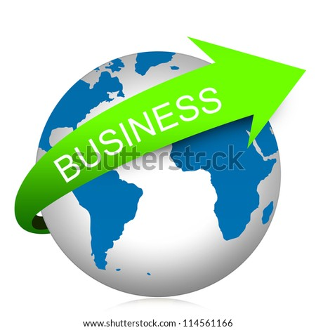 Business Concept Present By Green Business Arrow On The Blue Globe Isolated On White Background