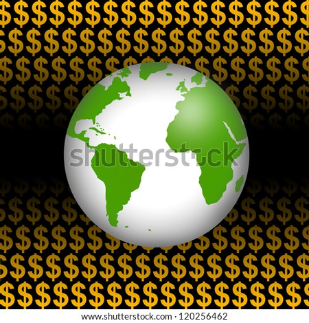 Business Concept Present by Green Globe In Orange Dollar Sign Background - stock photo