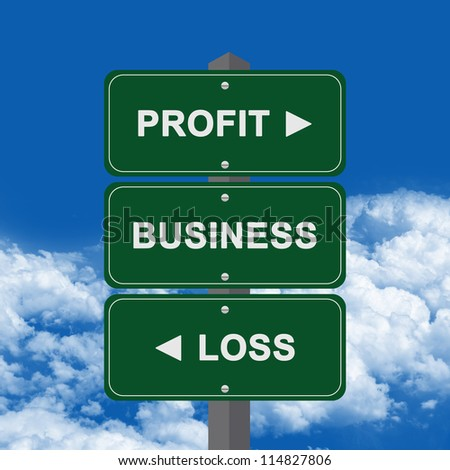 Business Concept Present By Green Street Sign Pointing to Profit, Business And Loss Against A Blue Sky Background - stock photo