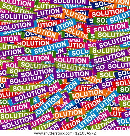 Business Concept Present By Group of Colorful Solution Label Background - stock photo