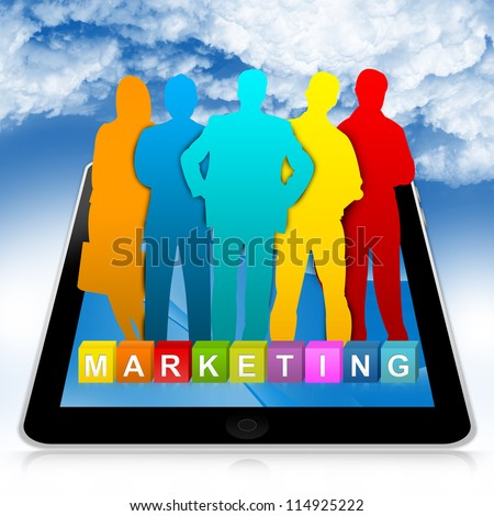 Business Concept Present By Tablet PC With Colorful Marketing Cube Box And Colorful Businessman in Blue Sky Background