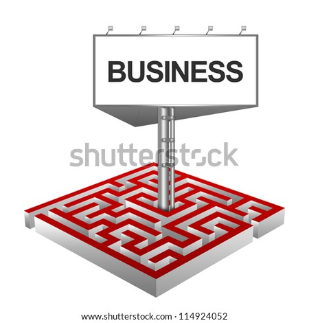 Business Concept Present By The Maze And The Highway Billboard With Business Text Isolated on White Background - stock photo