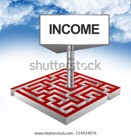 Business Concept Present By The Maze And The Highway Billboard With Income Text Against A Blue Sky Background - stock photo