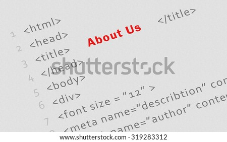 "Business concept: Printed html code for ""About us"" page - technology banner"