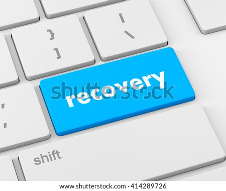Business concept: Recovery key on the computer keyboard, 3d rendering