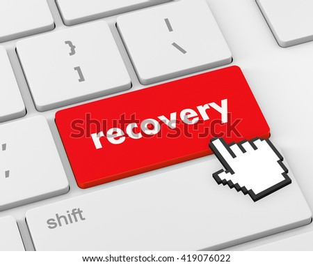 Business concept: Recovery key on the computer keyboard, 3d rendering - stock photo