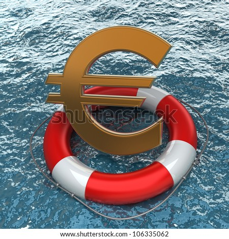 Business concept Red life buoy with a Euro symbol  in the water High resolution