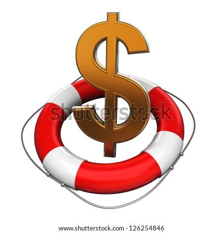 Business concept Red life buoy with a US dollar symbol isolated on white background 3d illustration