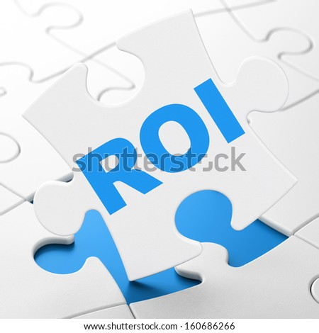 Business concept: ROI on White puzzle pieces background, 3d render - stock photo