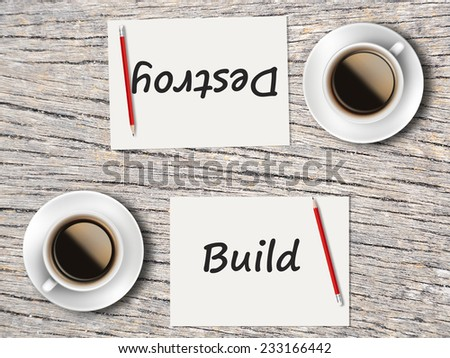 Business Concept (Rotatable) : Two Coffee, Papers And Pencils On The Table  Facing Each Other Head To Head To Compare Between Build And Destroy. - stock photo