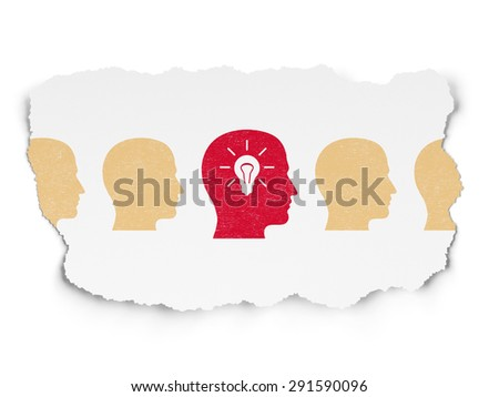 Business concept: row of Painted yellow head icons around red head with light bulb icon on Torn Paper background, 3d render - stock photo