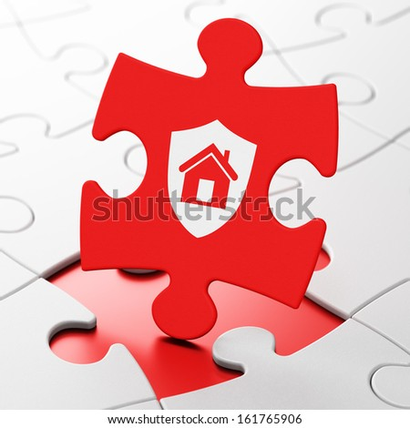 Business concept: Shield on Red puzzle pieces background, 3d render
