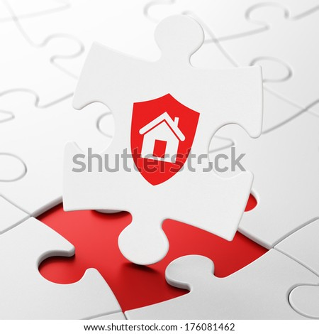 Business concept: Shield on White puzzle pieces background, 3d render - stock photo