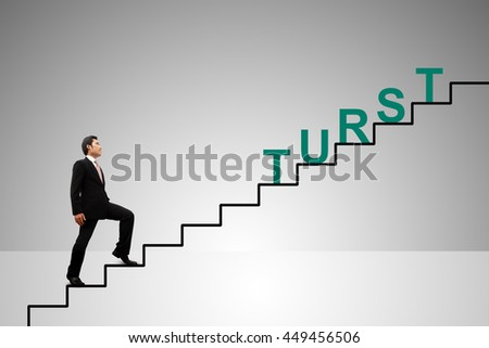 Business Concept. Stairs to trust. - stock photo