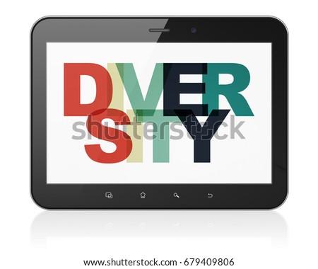Business concept: Tablet Computer with Painted multicolor text Diversity on display, 3D rendering