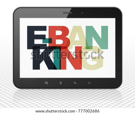 Business concept: Tablet Pc Computer with Painted multicolor text E-Banking on display, 3D rendering