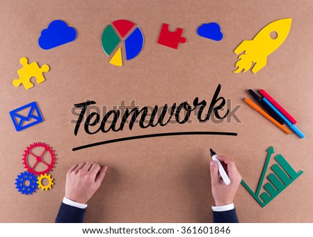 Business Concept-Teamwork word with colorful icons - stock photo