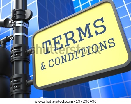 Business Concept. Terms and Conditions Waymark on Blue Background. - stock photo
