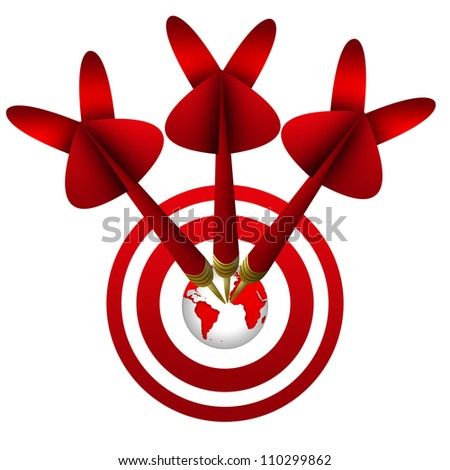 Business Concept, The Darts Hitting a Target Isolated on White Background - stock photo
