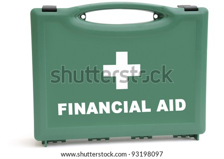 Business concept to illustrate a financial rescue package, using a first aid box. - stock photo