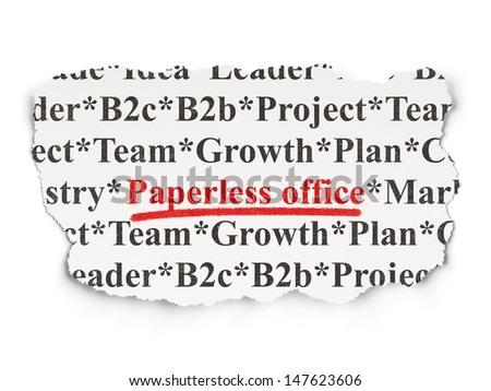Business concept: torn newspaper with words Paperless Office on Paper background, 3d render - stock photo