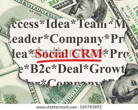 Business concept: torn newspaper with words Social CRM on Money background, 3d render