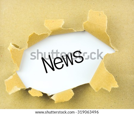 Business concept: torn paper with word News on Paper background - stock photo