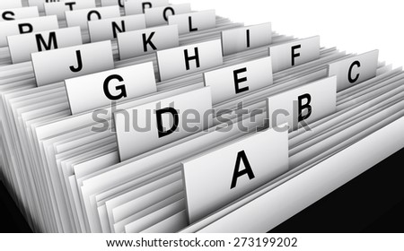 Business concept with a 3d rendering close-up view of a office customers directory archive with alphabet letters. - stock photo