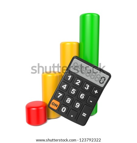 Business Concept with Calculator and Finance Diagram. Isolated on White.