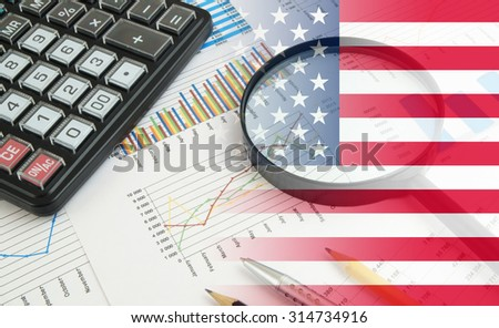 Business concept with calculator, magnifying glass and documents, collage with usa flag - stock photo