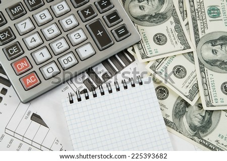 Business concept with calculator, money and documents  - stock photo