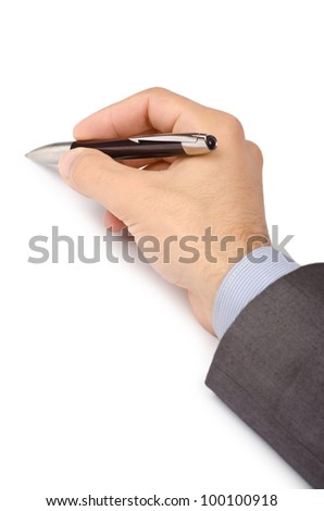 Business concept with hand writing on white