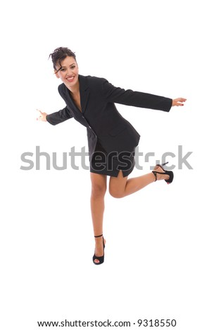 business concept with happy businesswoman on white
