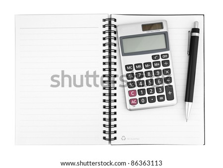 Business concept with notebook, calculator and pen